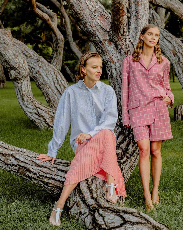 12Storeez Платье миди комбинированное (голубой/коралловый) блузки и рубашки