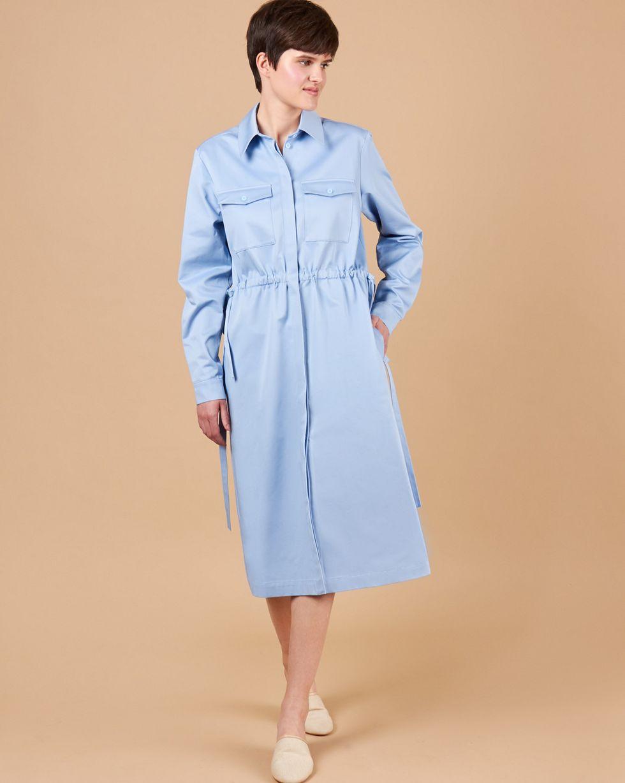 12Storeez Платье миди из плотного хлопка с карманами (голубой) 12storeez платье миди на поясе с карманами серо голубой