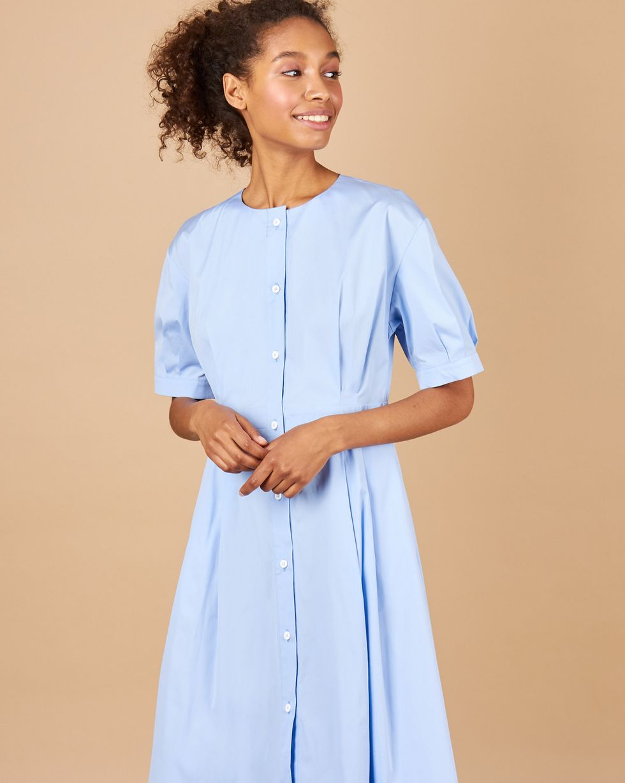 12Storeez Платье-рубашка миди (голубой)