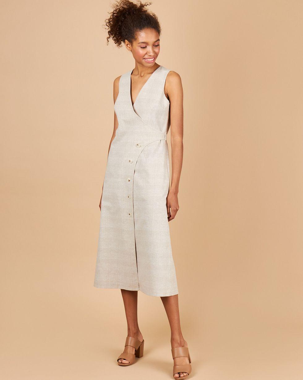 12Storeez Платье с запахом на пуговицах (бежевый) платье с запахом и принтом