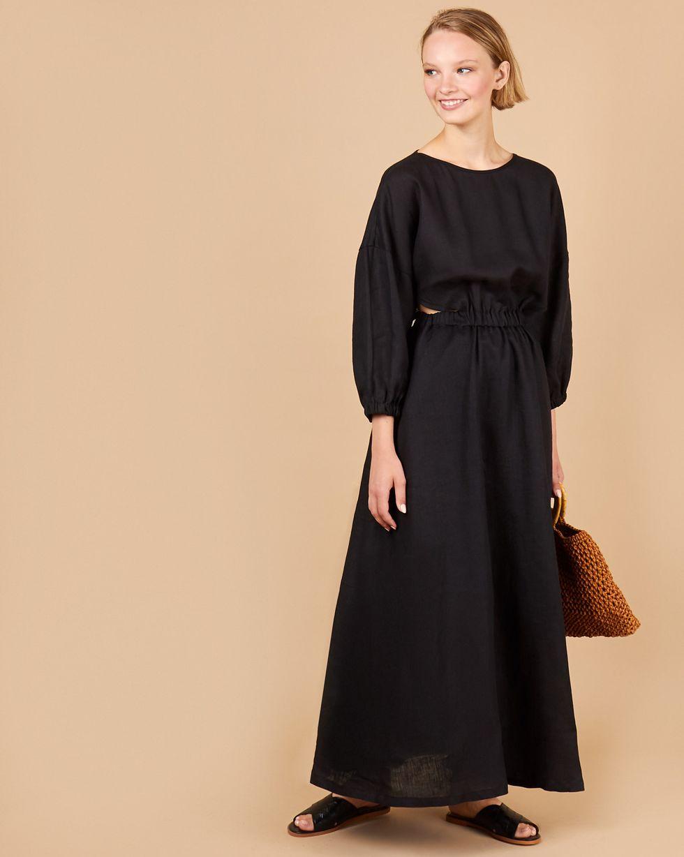 12Storeez Платье изо льна на резинке (черный) цена и фото