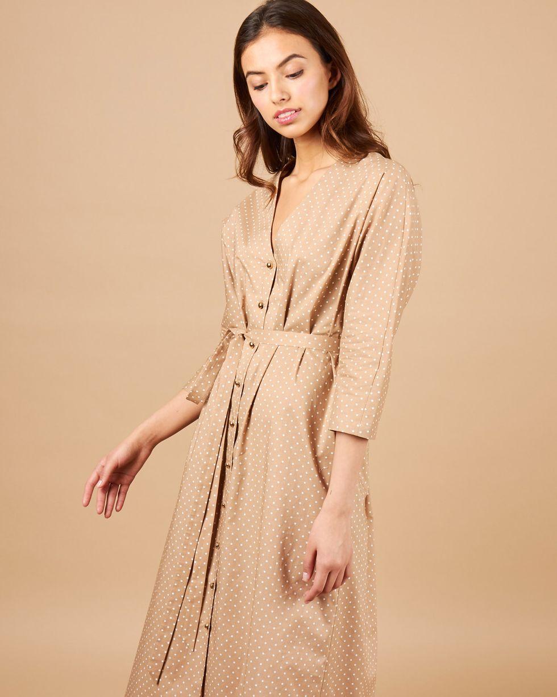 12Storeez Платье миди с цельнокроеным рукавом (светло-коричневая) цена и фото