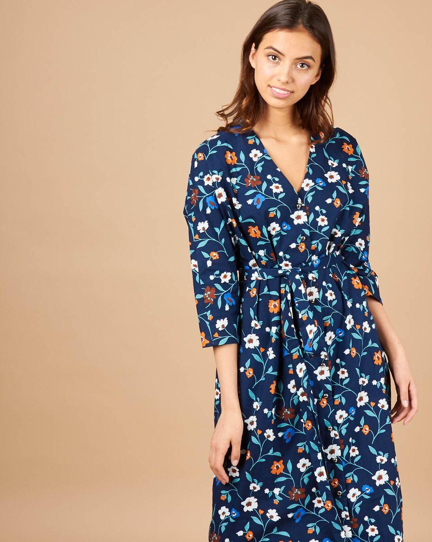 12Storeez Платье миди на поясе (темно-синий) dioni платье dioni d211 34ft темно изумрудный