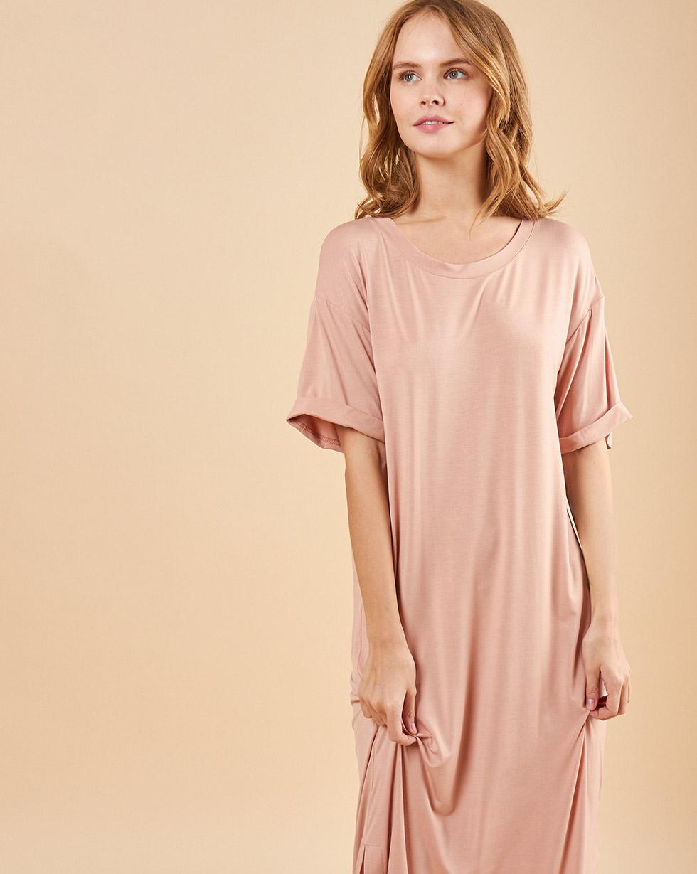 12Storeez Платье-футболка с разрезами (чайная роза)