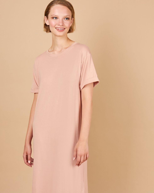 Платье-футболка с разрезами MПлатья<br><br><br>Артикул: 82914394<br>Размер: M<br>Цвет: Чайная роза<br>Новинка: НЕТ<br>Наименование en: Side slit t-shirt dress
