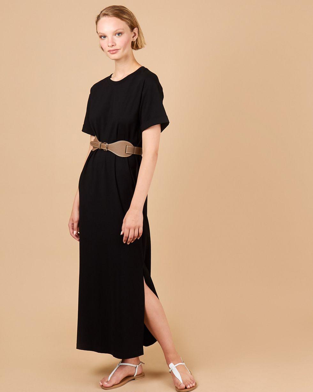 12Storeez Платье-футболка с разрезами (черный)