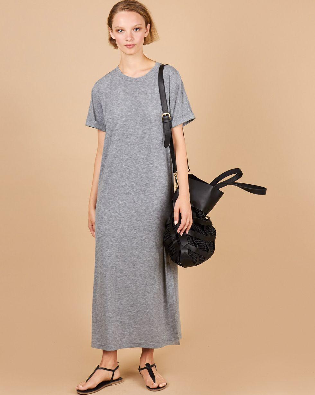 12Storeez Платье-футболка с разрезами (серый меланж) 12storeez платье футболка с разрезами чайная роза