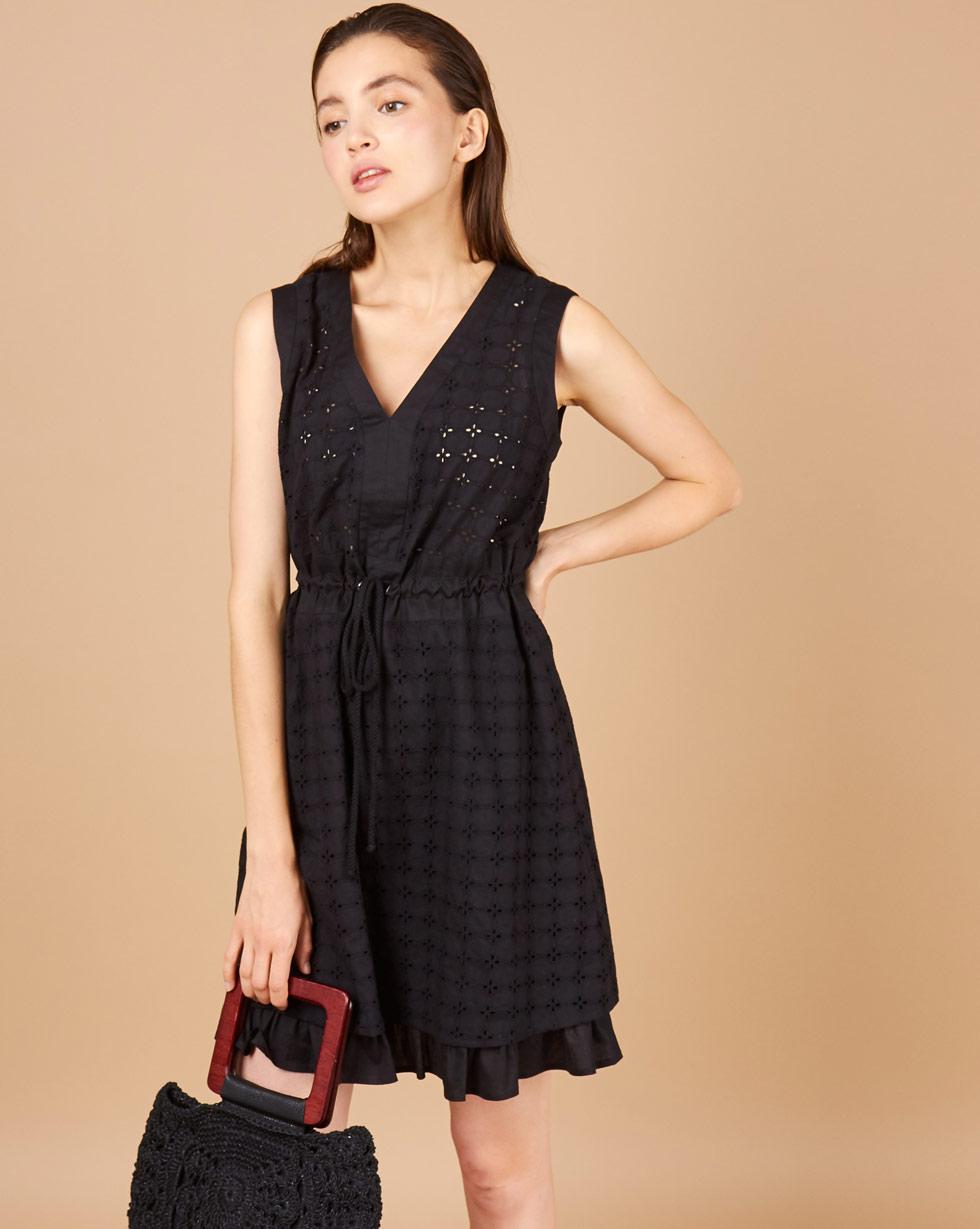 12Storeez Платье мини на кулиске (черный) полуприлегающее платье с v образным вырезом gf ferre платья и сарафаны мини короткие