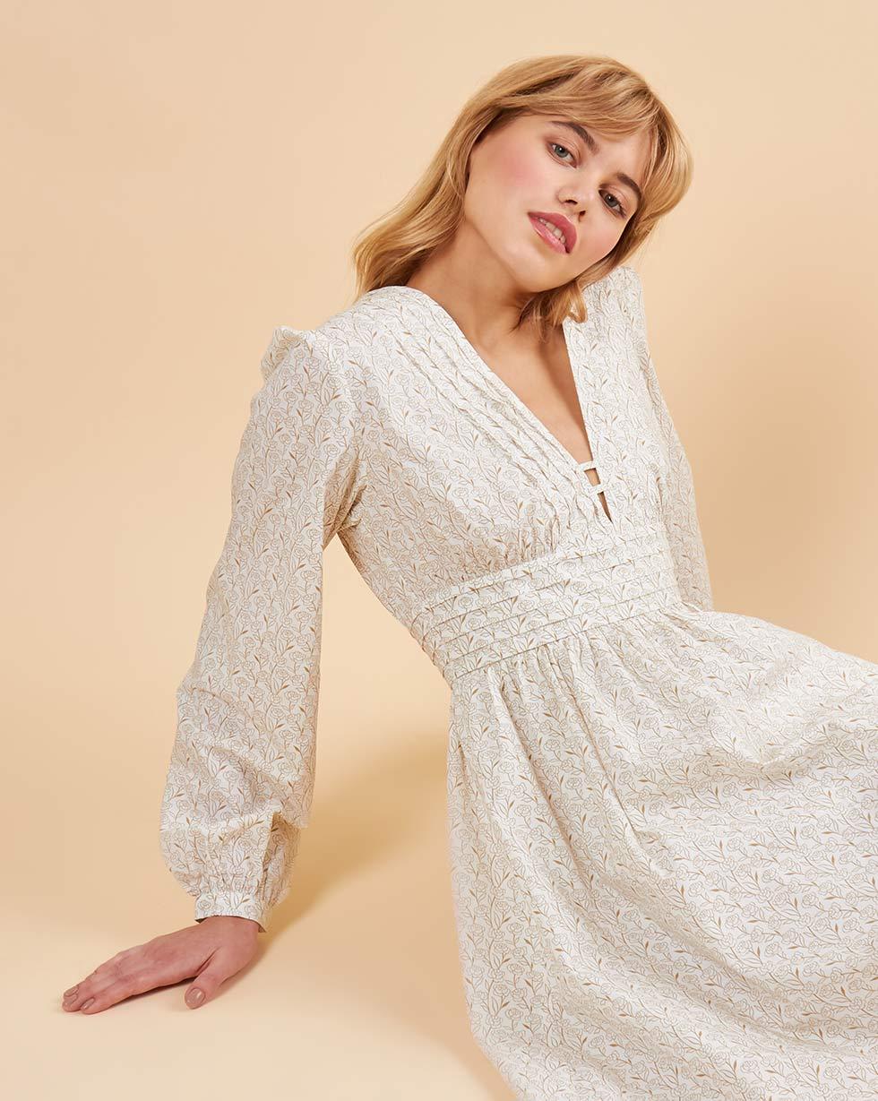 12Storeez Платье с глубоким вырезом (белый с бежевым)