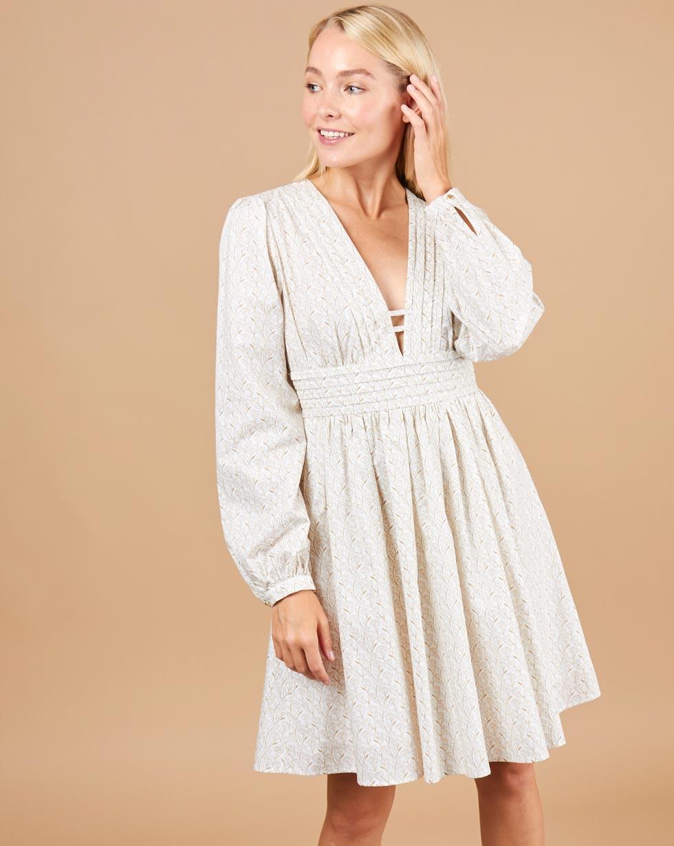 12Storeez Платье с глубоким вырезом (белый) полуприлегающее платье с v образным вырезом gf ferre платья и сарафаны мини короткие