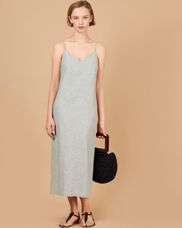 12Storeez Платье-комбинация миди изо льна (фисташковый) цена и фото