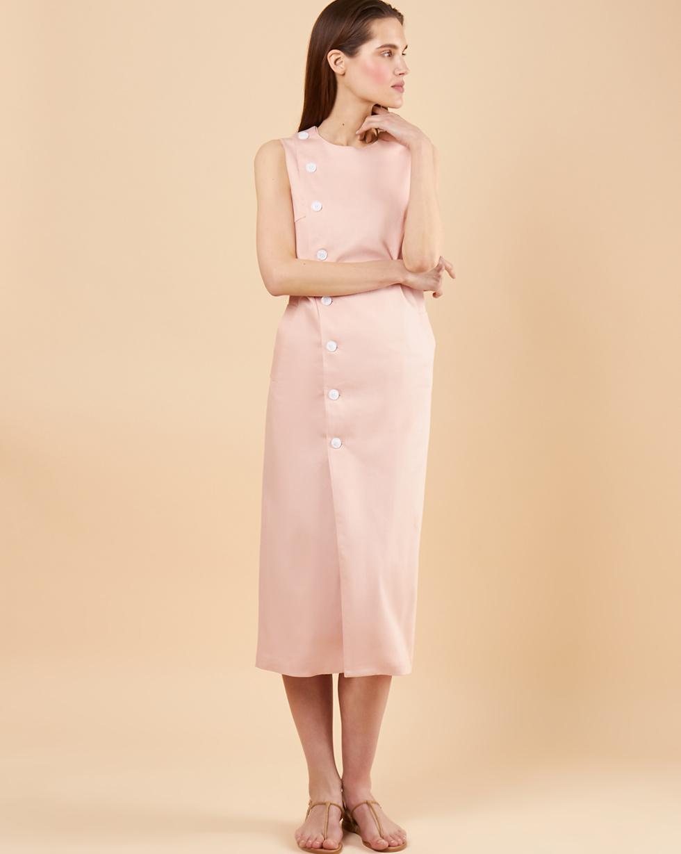 12Storeez Платье без рукавов из плотного хлопка (розовый)