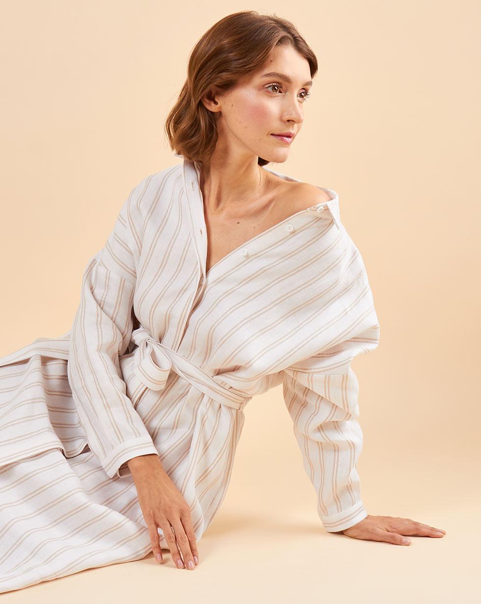 12Storeez Платье-рубашка на поясе изо льна (белый в полоску) 12storeez платье рубашка на поясе песочный