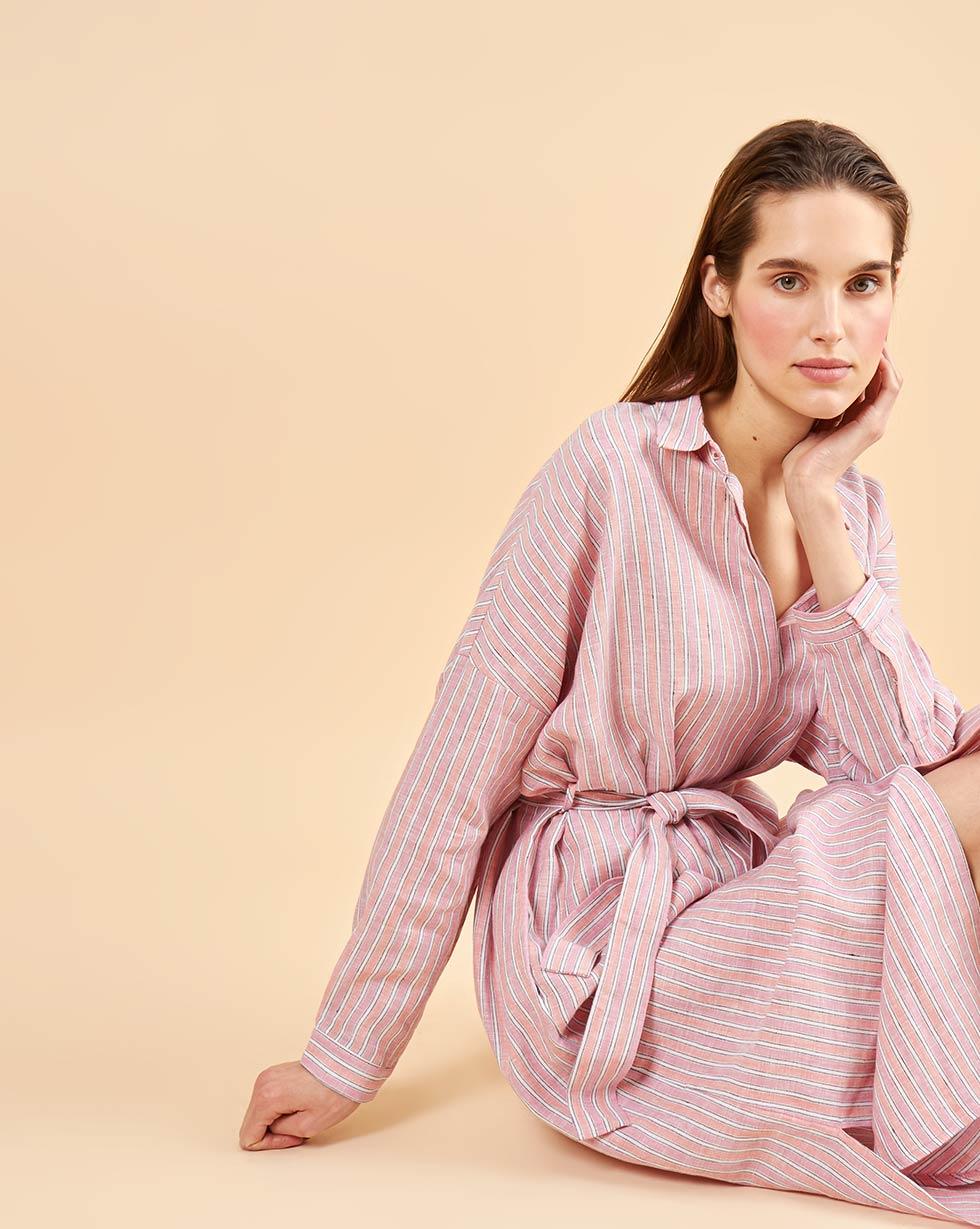 12Storeez Платье-рубашка на поясе (розовый)