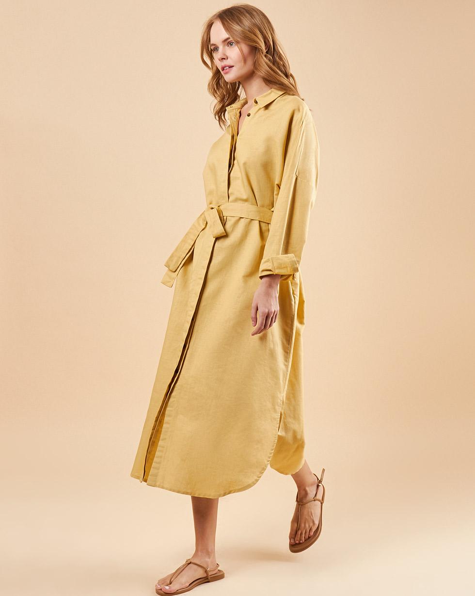 12Storeez Платье-рубашка на поясе (песочный) 12storeez платье рубашка на поясе песочный