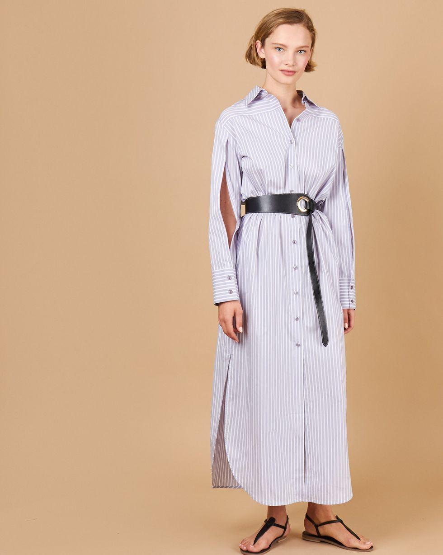 цена 12Storeez Платье - рубашка с разрезами на рукавах (светло-серый в полоску) онлайн в 2017 году