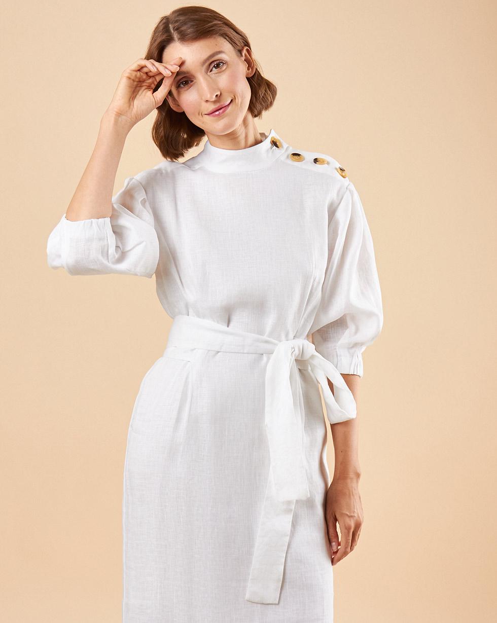 12Storeez Платье миди с пуговицами на плечах (белый на подкладке) 12storeez платье миди с кантом белый