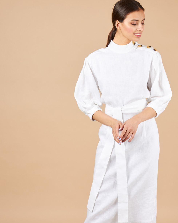 12Storeez Платье миди с пуговицами на плечах (белый)