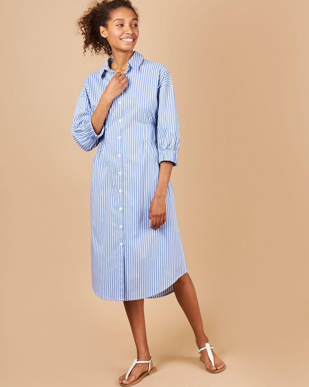 12Storeez Платье-рубашка в полоску (синий в белую полоску)