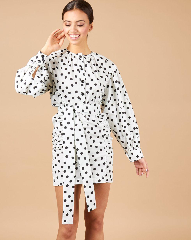 12Storeez Платье мини с объемными рукавами (белый в черный горох) бинокль levenhuk rainbow 8x25 черный