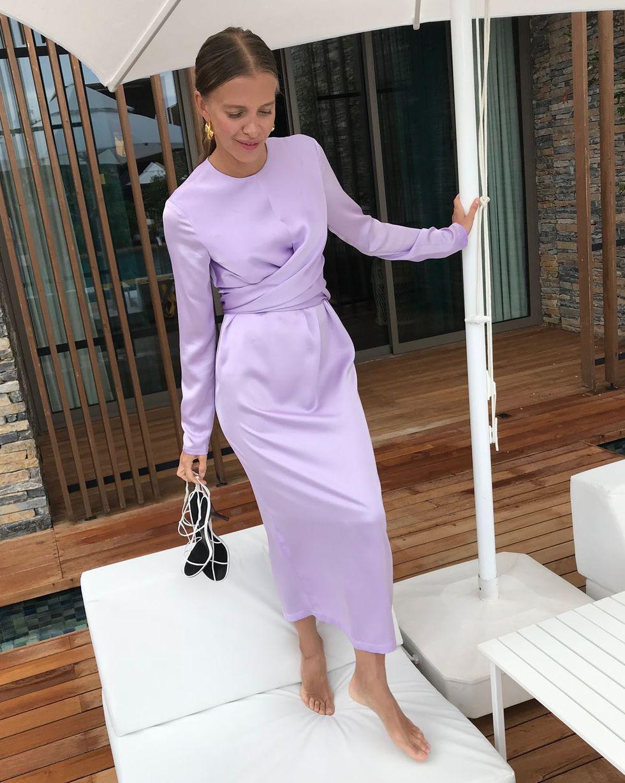 12Storeez Платье миди с завязками на талии (сиреневый)