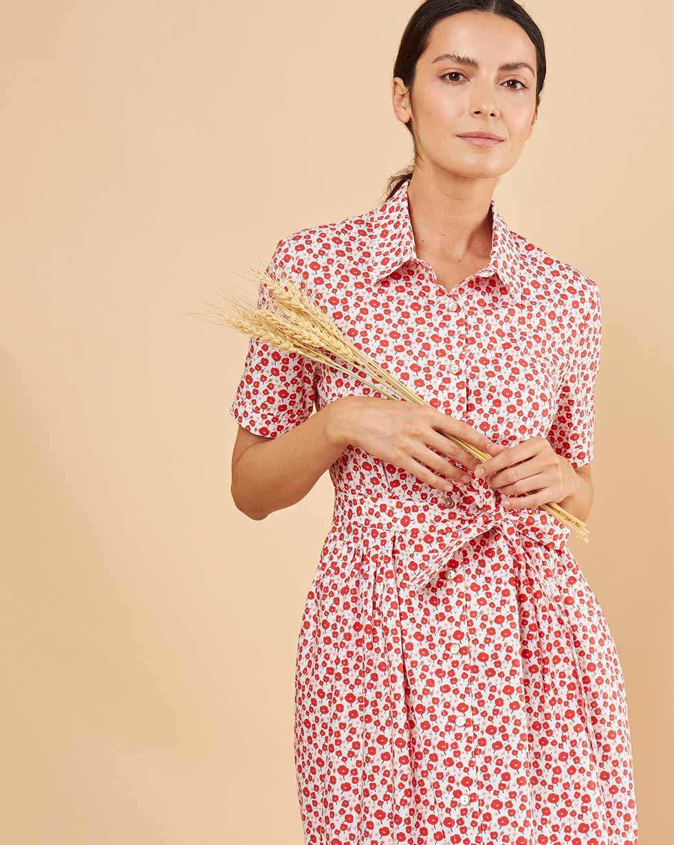 12Storeez Платье-рубашка в цветочек (белый в красный цветок) 12storeez платье рубашка на поясе песочный