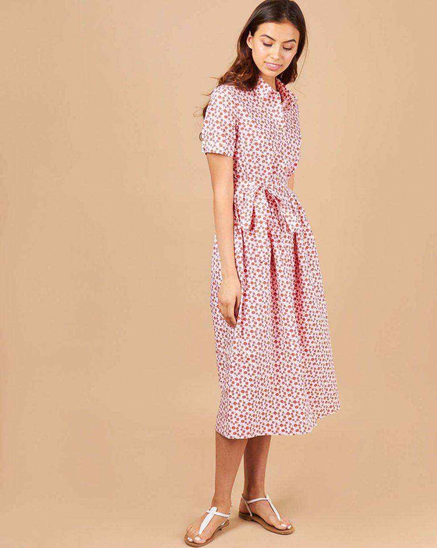 12Storeez Платье-рубашка в цветочек (белый в красный цветок) платье рубашка fox yulia sway платье рубашка fox