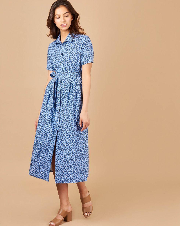 12Storeez Платье-рубашка в цветочек (синий в цветок) платье рубашка fox yulia sway платье рубашка fox