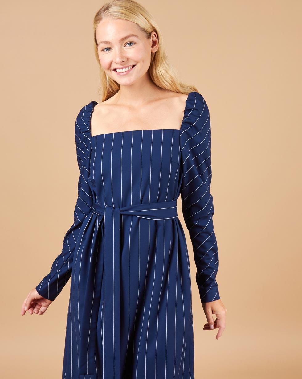 12Storeez Платье в полоску (синий в полоску)