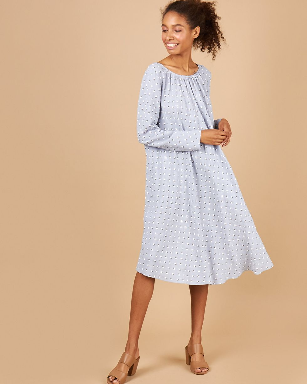 12Storeez Платье миди с вырезом на спине (серо-голубой)