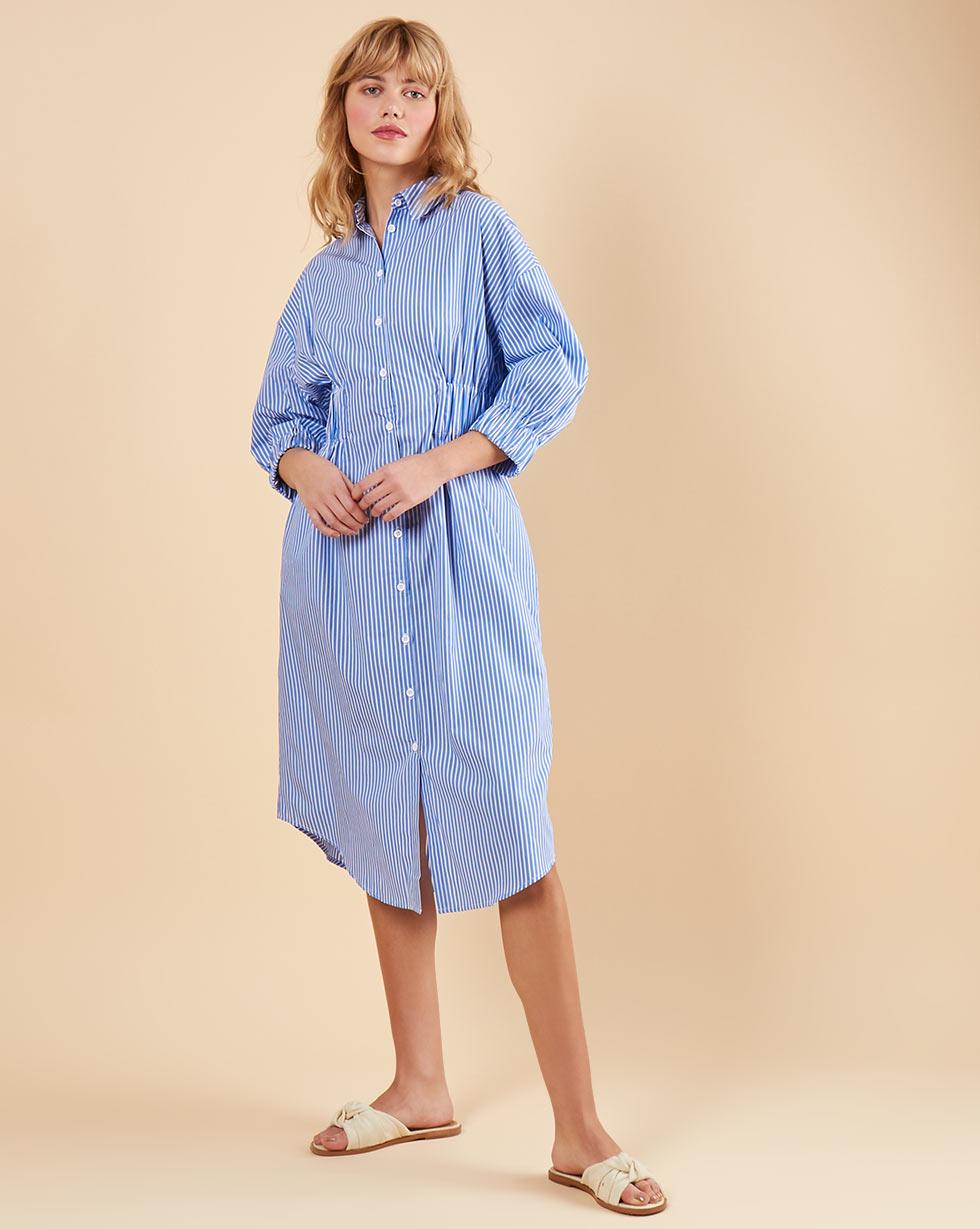 купить 12Storeez Платье-рубашка в полоску (темно-синий) по цене 7790 рублей