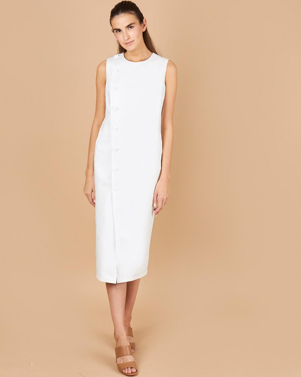 12Storeez Платье без рукавов из плотного хлопка (молочный с подкладкой в полоску) printio платье без рукавов