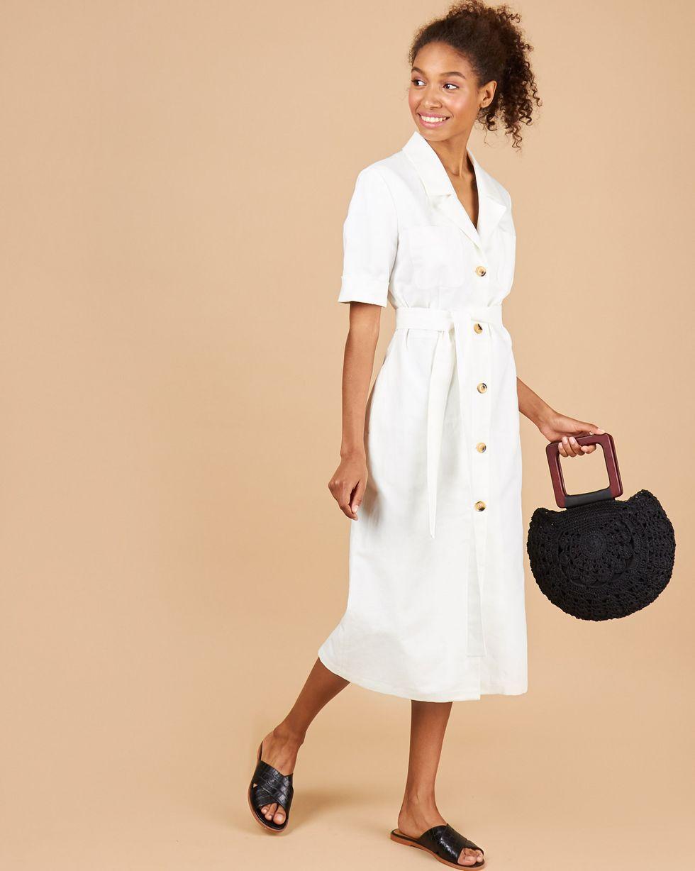 12Storeez Платье миди Вафли (белый) 12storeez платье миди в мелкий горошек молочное