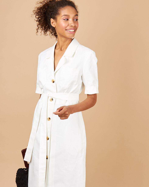12Storeez Платье миди Вафли (белый) 12storeez платье миди с кантом белый