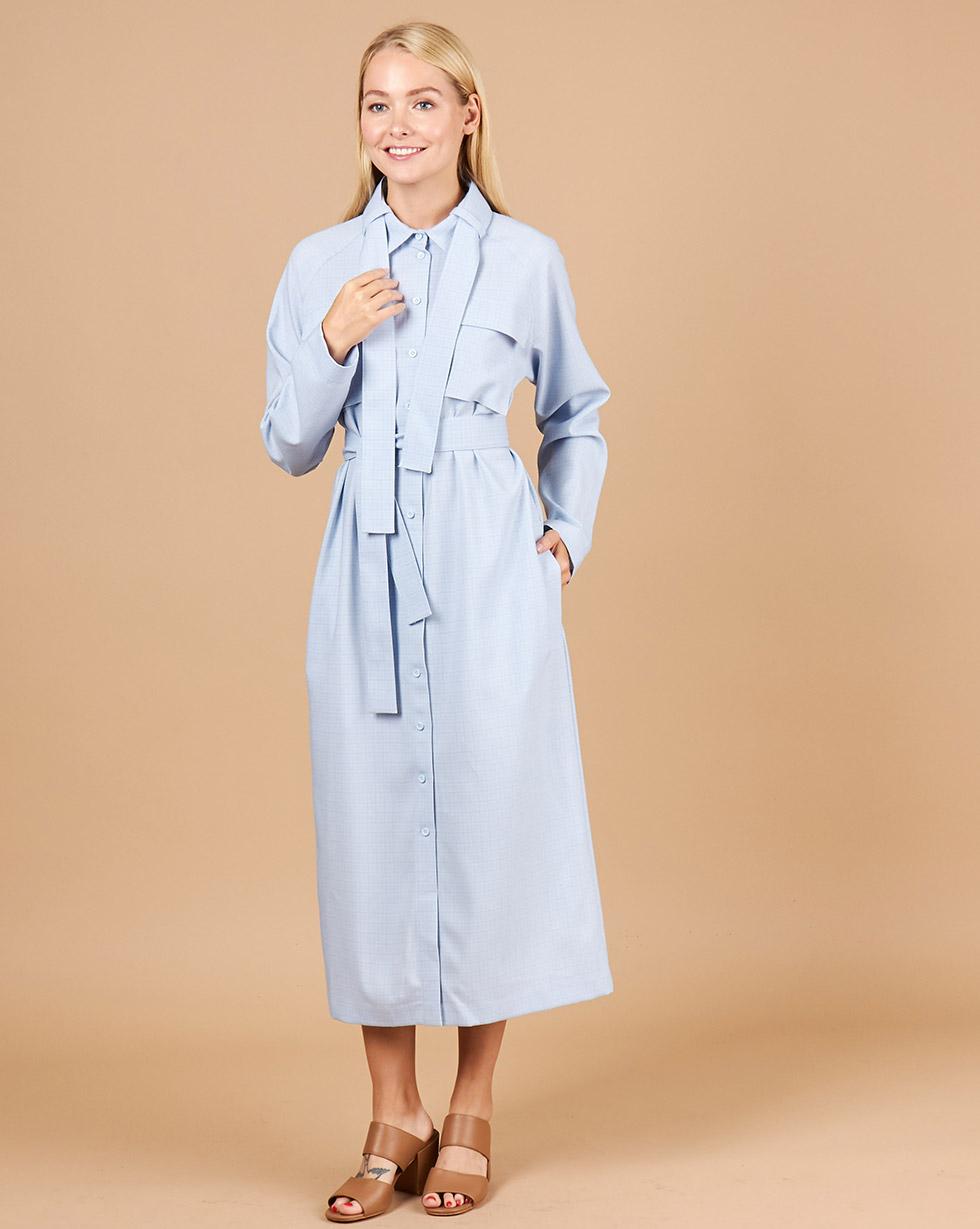 12Storeez Платье-рубашка с поясом на воротнике (голубой) платье рубашка fox yulia sway платье рубашка fox