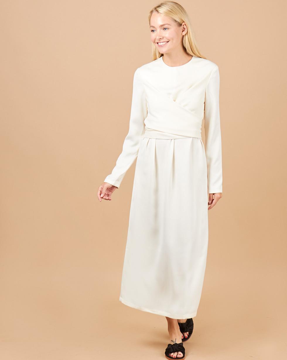 12Storeez Платье миди с завязками на талии (молочный) SS 2018