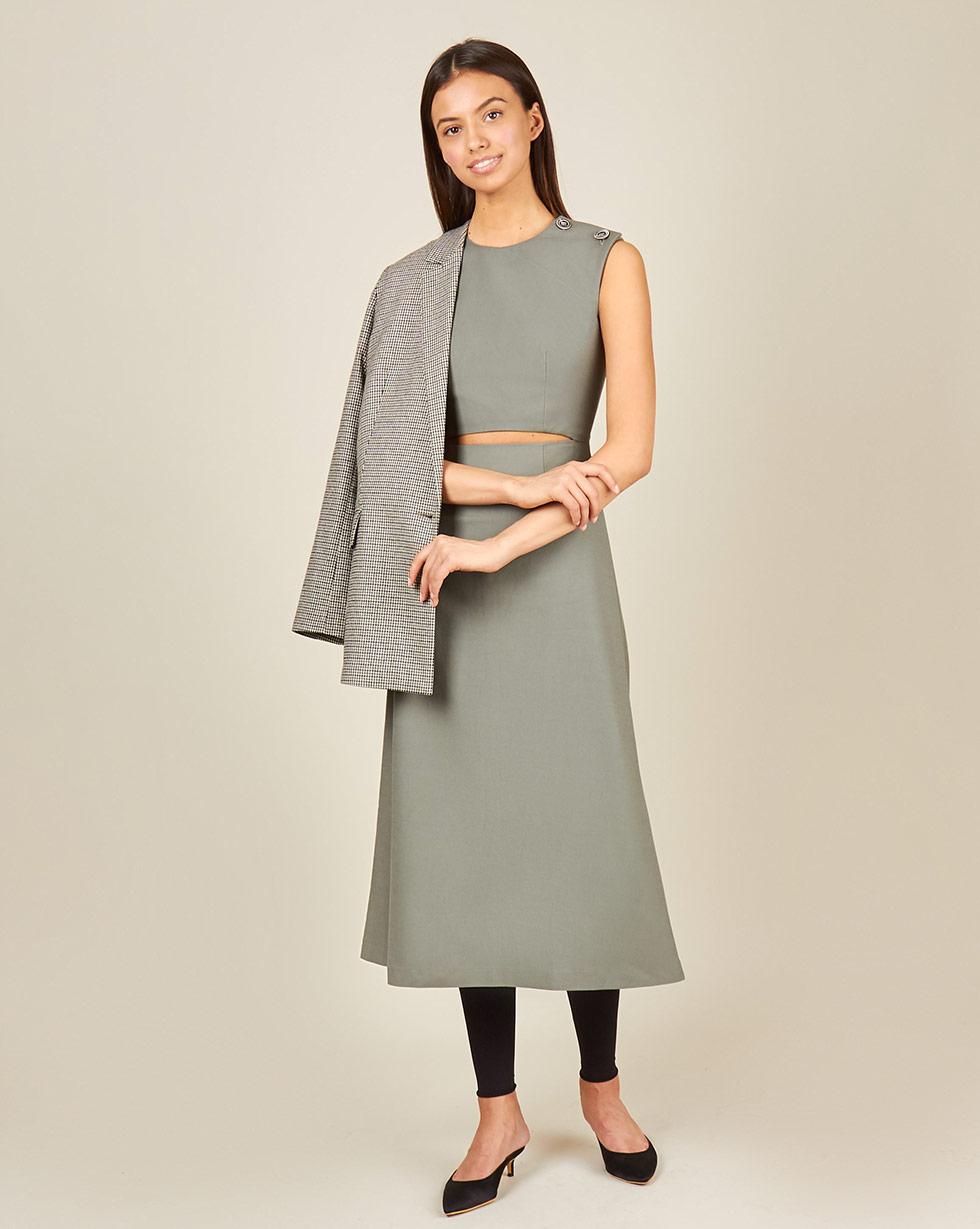 12Storeez Платье с вырезом на талии (серый)