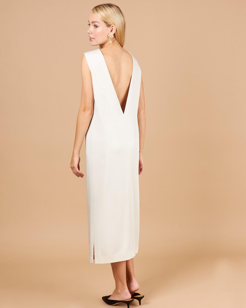 12Storeez Платье с треугольным вырезом (молочный) 12storeez комбинация с глубоким вырезом на спине желтый