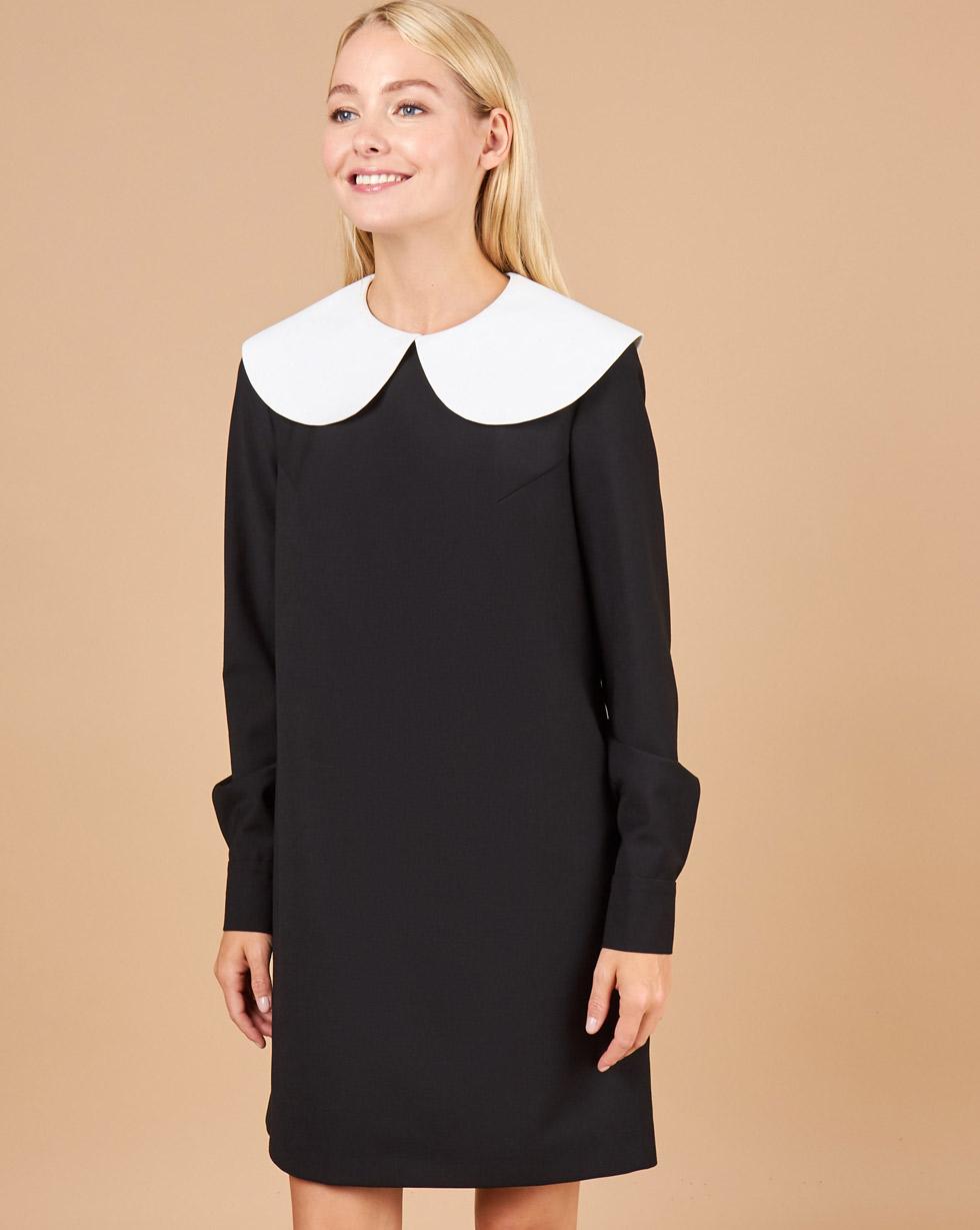 12Storeez Платье с круглым воротником (черный)