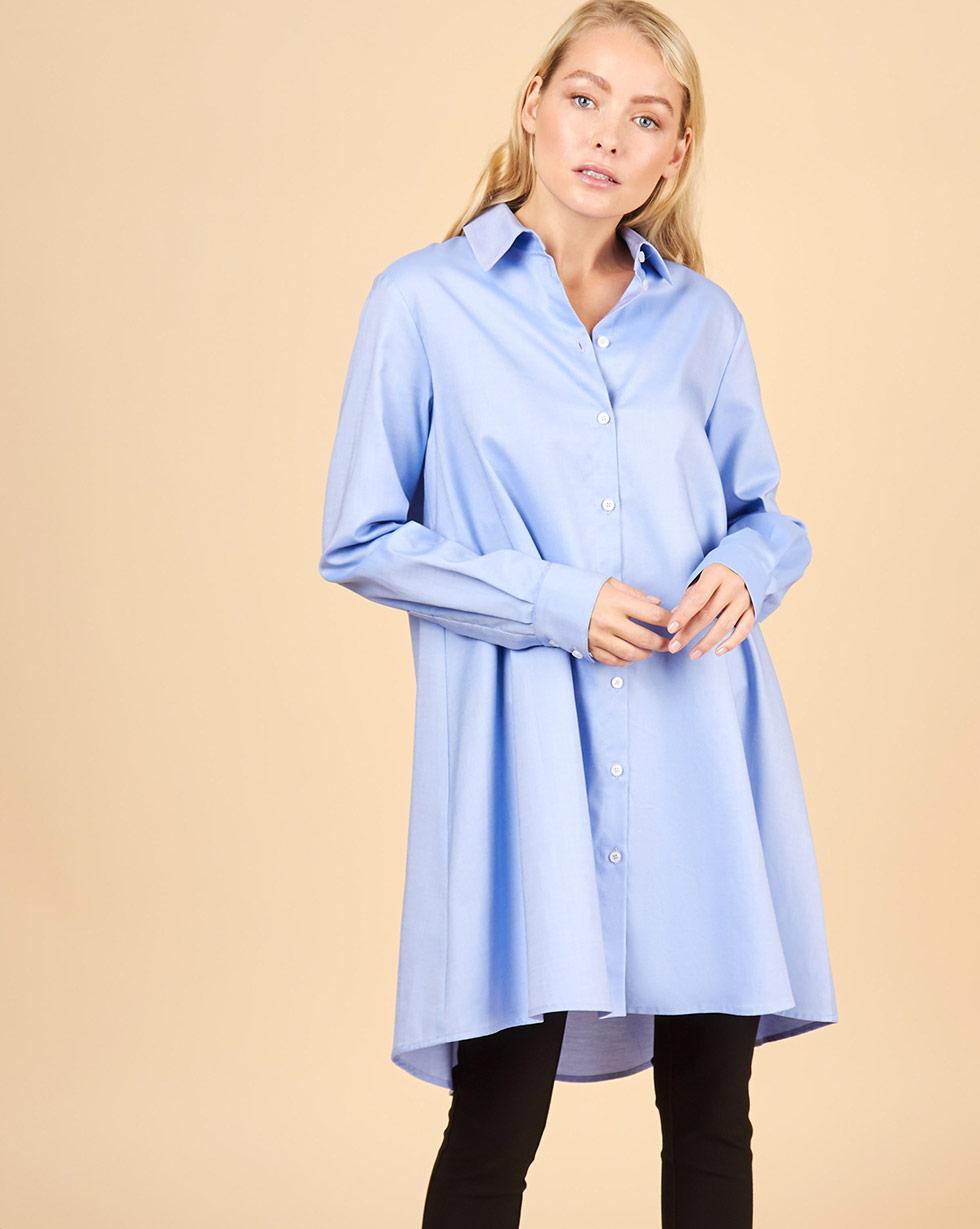 12Storeez Платье-рубашка А-силуэта (голубой)