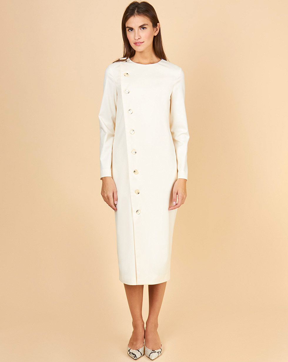 12Storeez Платье на пуговицах с длинным рукавом (молочный) миграции ветер звезда с питер воротник блузка с длинным рукавом обрезана рукав платье