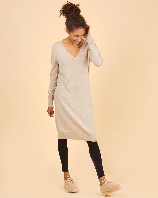 12Storeez Платье миди из 100% кашемира (кофейный) FW18/19 цена 2017