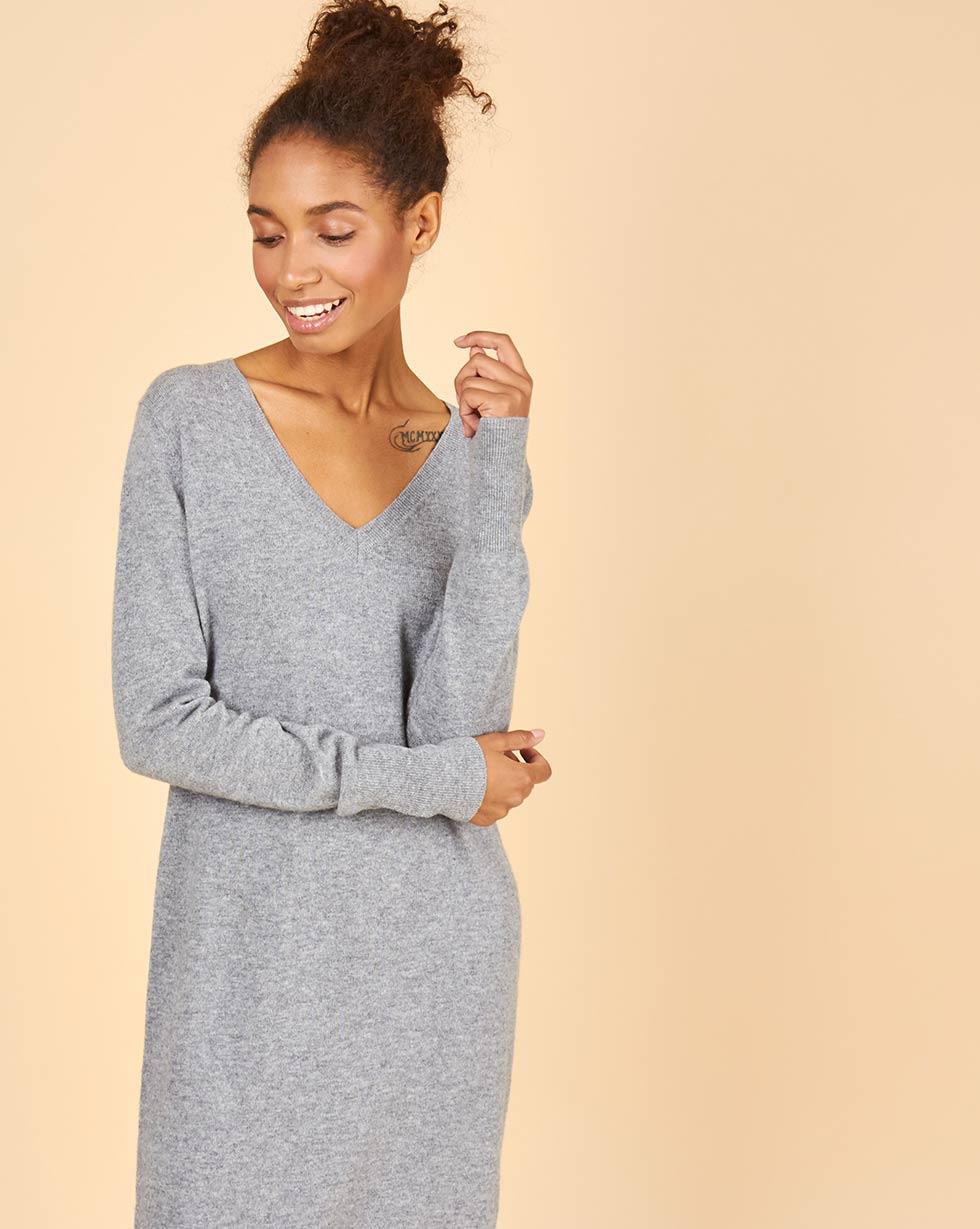 12Storeez Платье миди из 100% кашемира (серый)FW18/19
