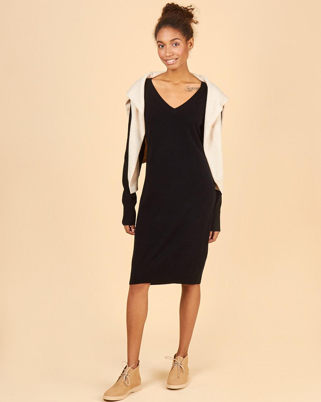 12Storeez Платье миди из 100% кашемира (черный)
