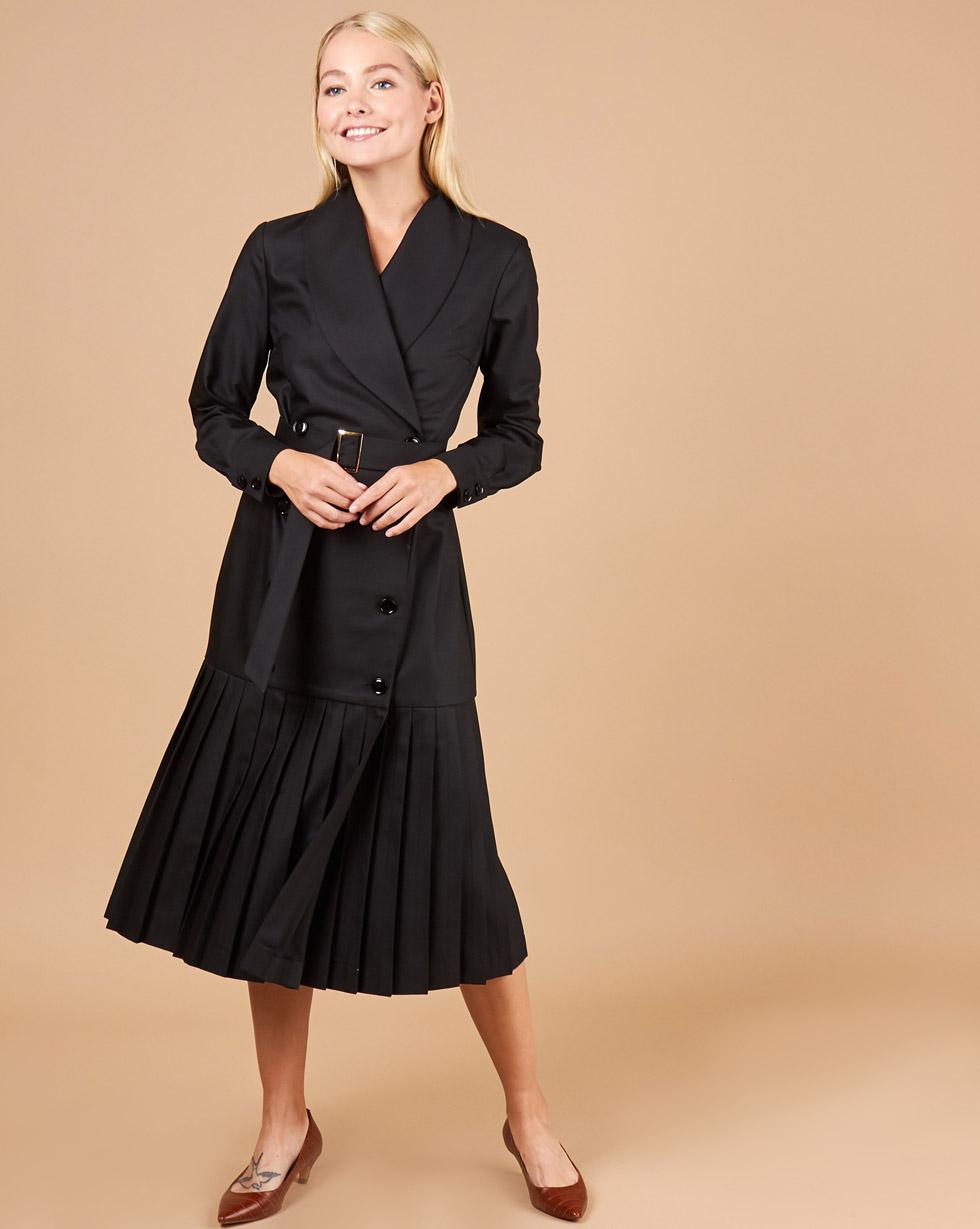 12Storeez Платье двубортное с плиссированным низом (серо-черный)