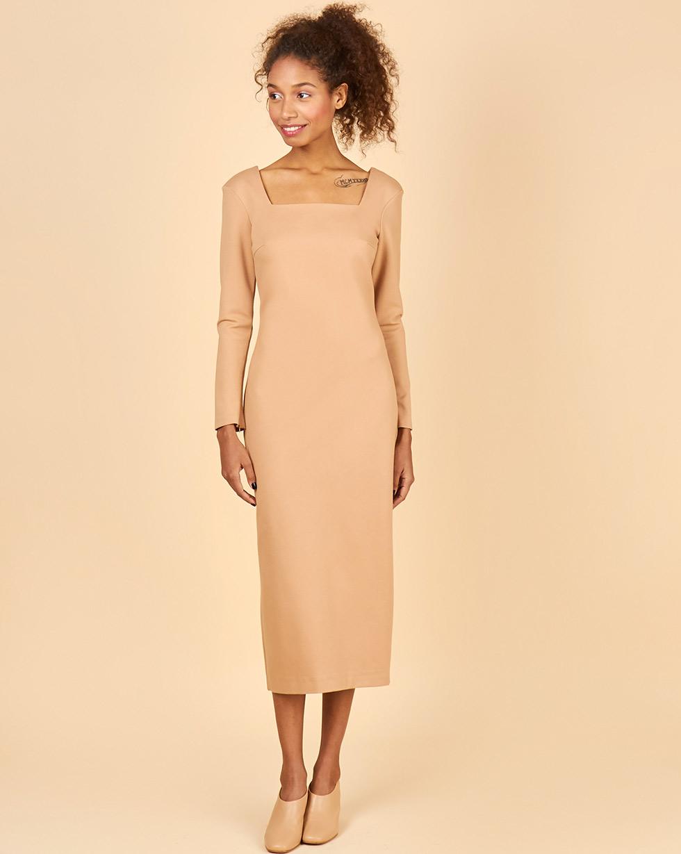 12Storeez Платье с квадратным вырезом (бежевый)