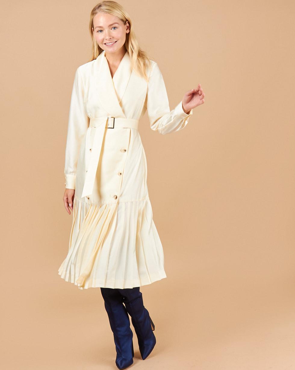 12Storeez Платье двубортное с плиссированным низом (бежевый)