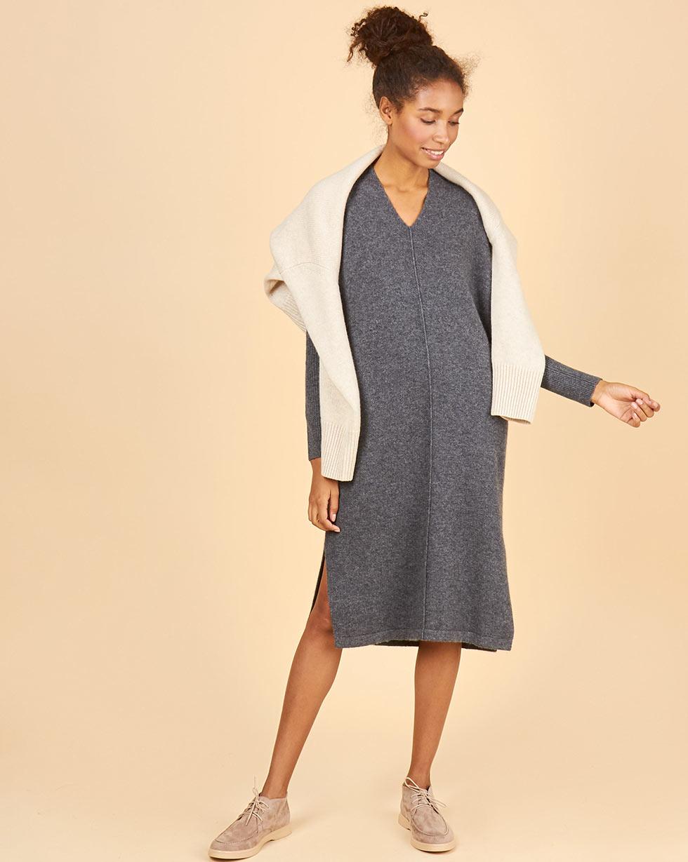 12Storeez Платье из 100% кашемира с разрезами (серый)