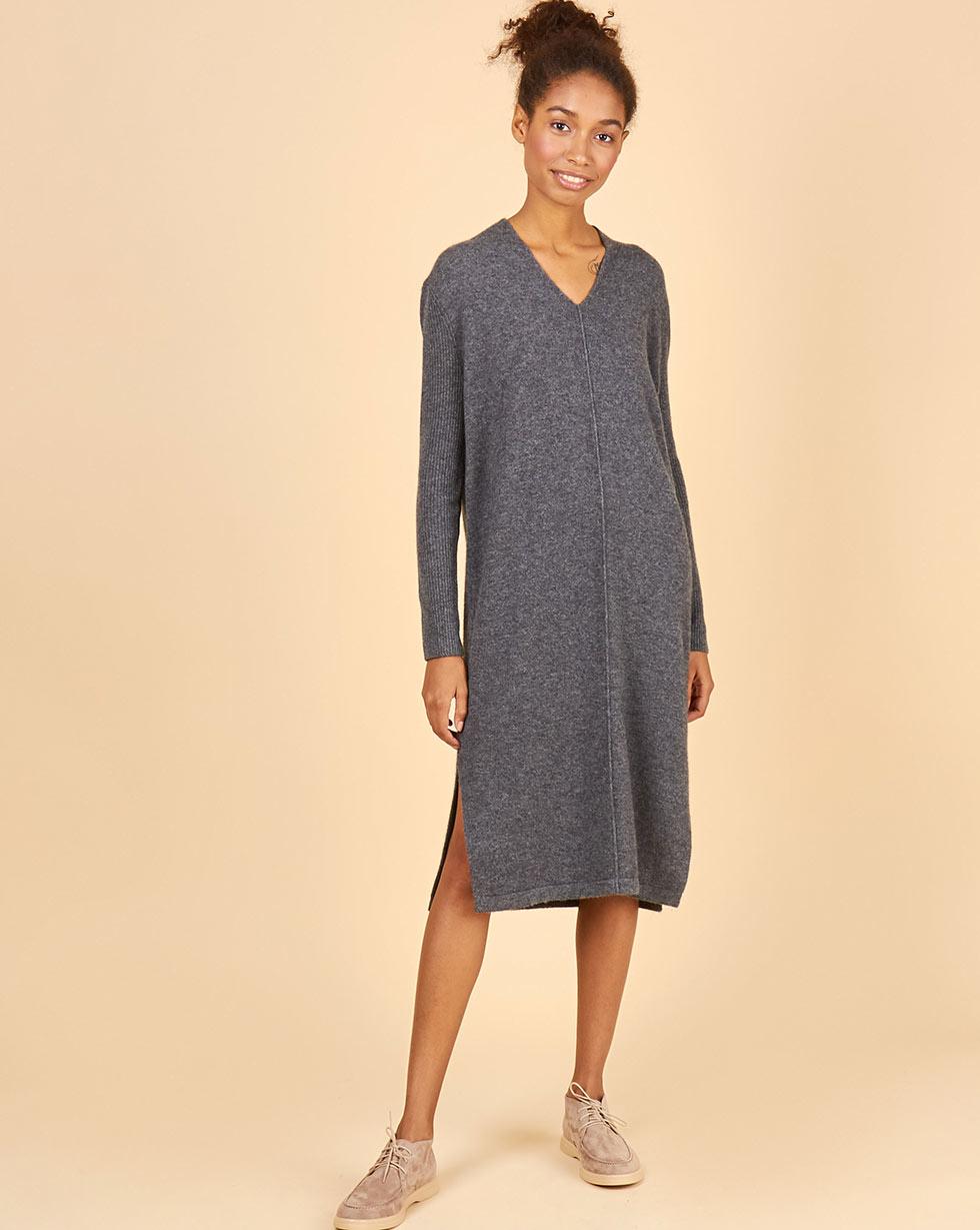 12Storeez Платье из 100% кашемира с разрезами (серый) 12storeez платье футболка с разрезами чайная роза