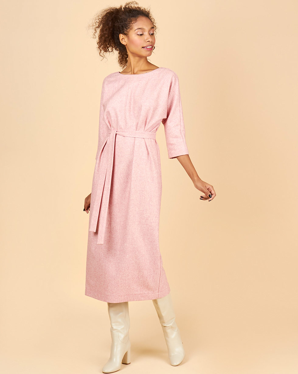12Storeez Платье миди с вырезом и пуговицами сзади (светло-розовый) 12storeez платье миди со шлицей светло бежевый